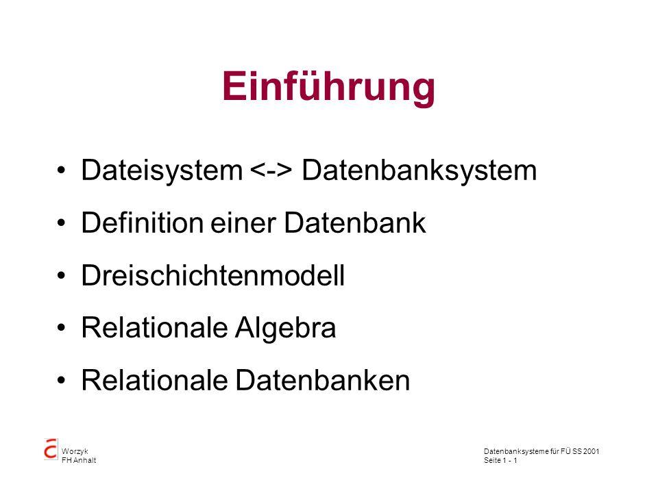 Einführung Dateisystem <-> Datenbanksystem