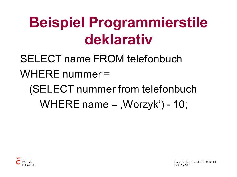 Beispiel Programmierstile deklarativ
