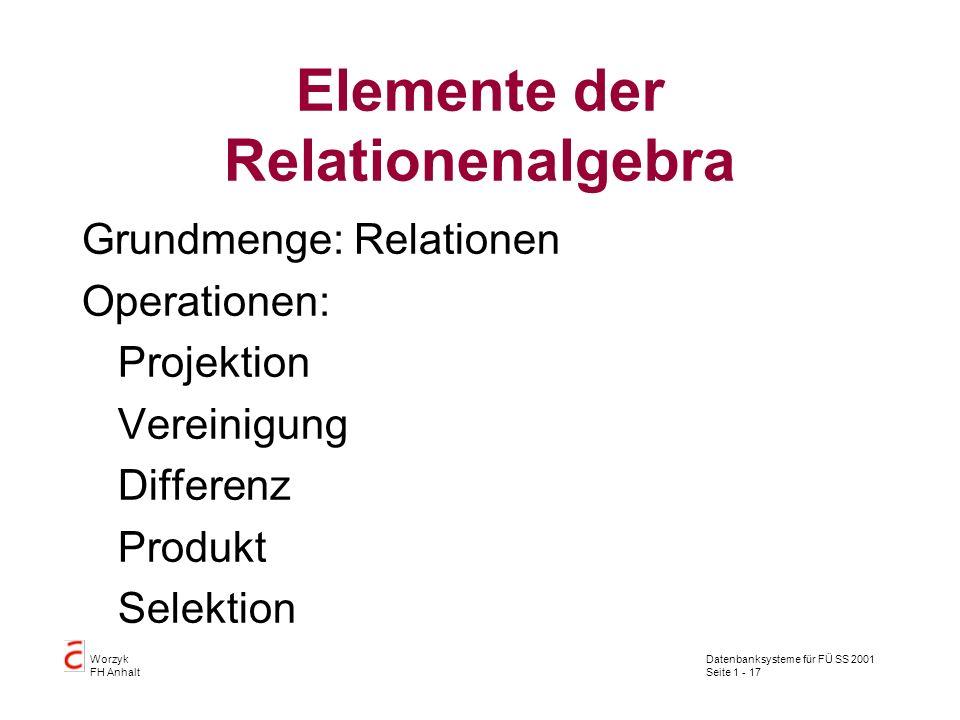 Elemente der Relationenalgebra