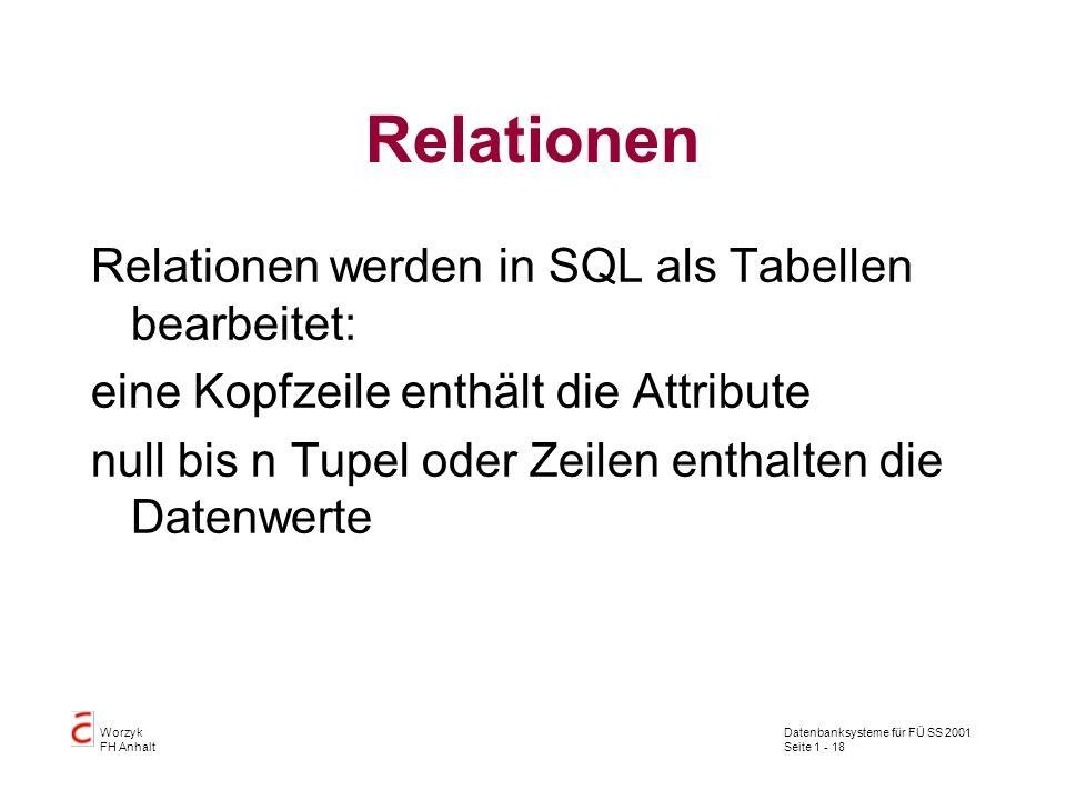 Relationen Relationen werden in SQL als Tabellen bearbeitet: