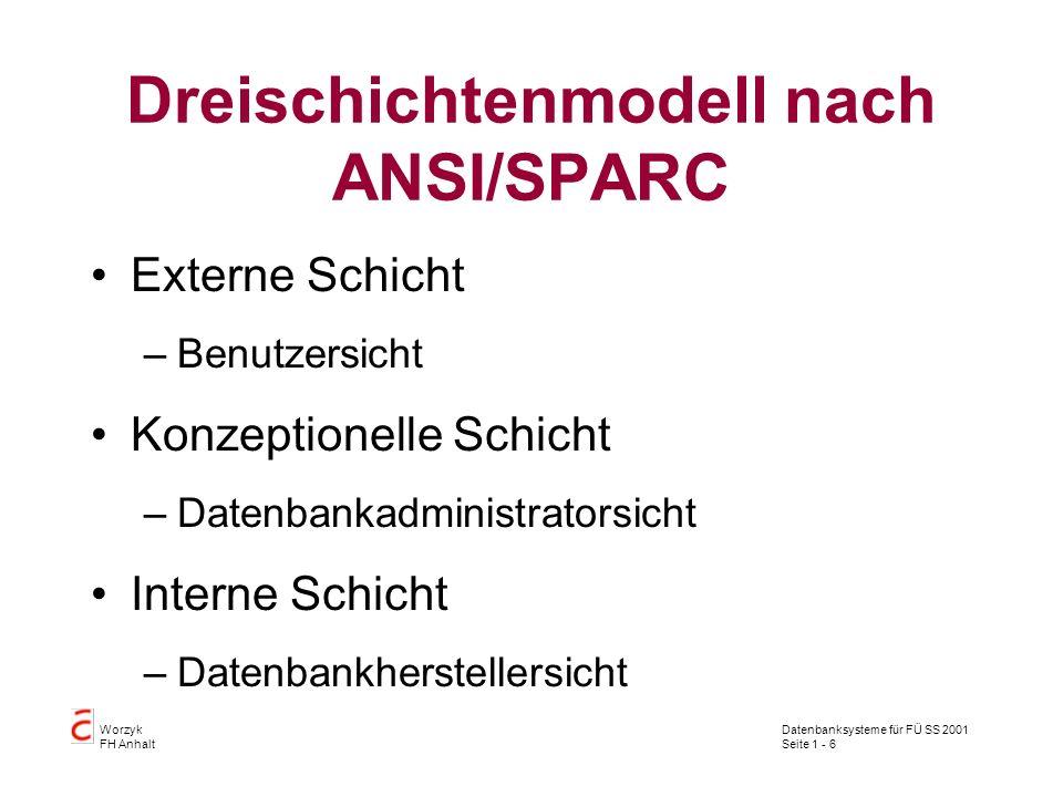 Dreischichtenmodell nach ANSI/SPARC
