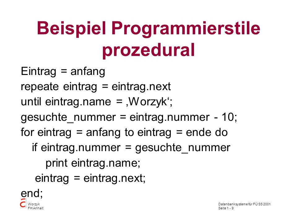 Beispiel Programmierstile prozedural