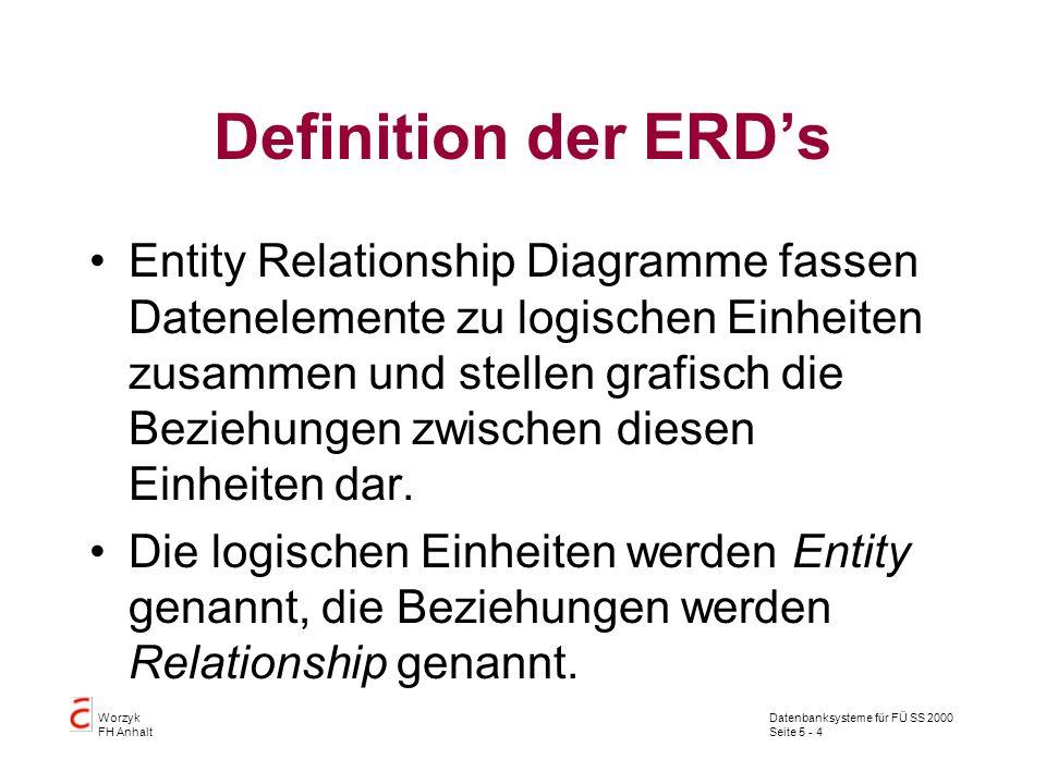 Definition der ERD's
