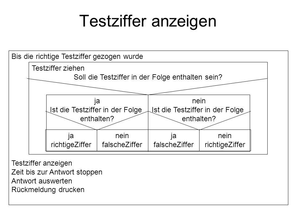 Testziffer anzeigen Bis die richtige Testziffer gezogen wurde