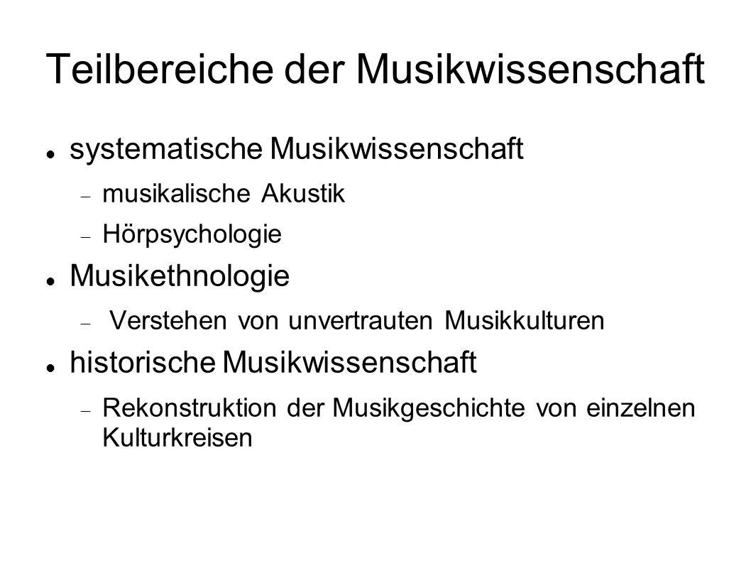 Teilbereiche der Musikwissenschaft