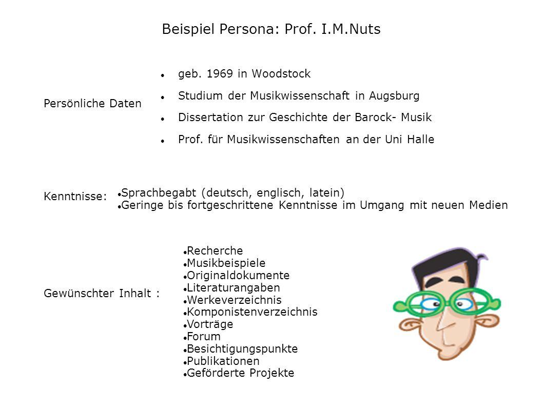 Beispiel Persona: Prof. I.M.Nuts
