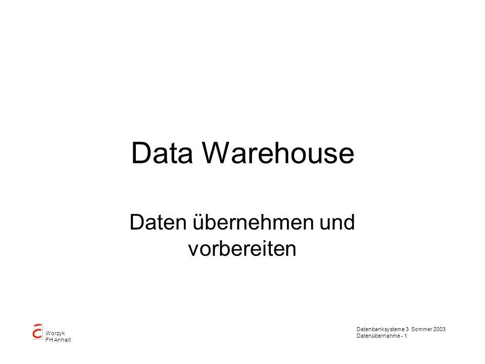 Daten übernehmen und vorbereiten