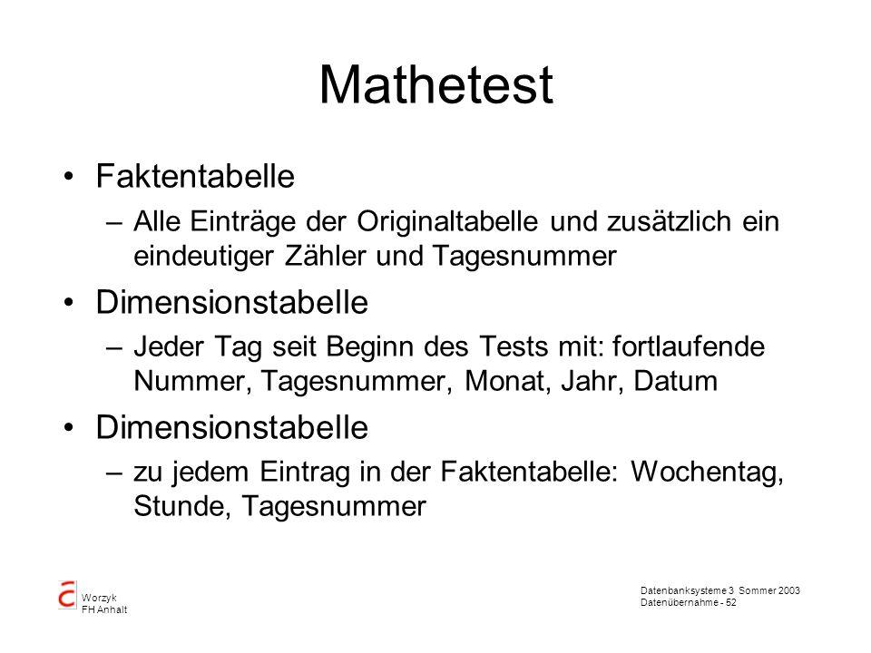 Mathetest Faktentabelle Dimensionstabelle