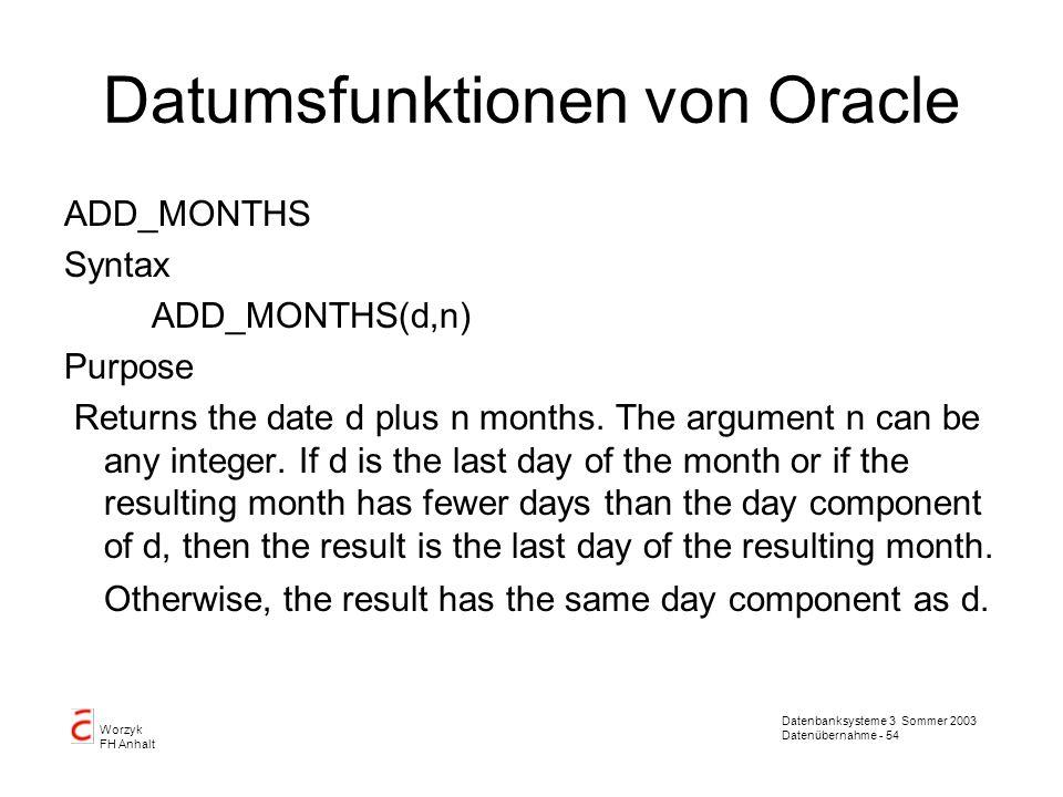 Datumsfunktionen von Oracle