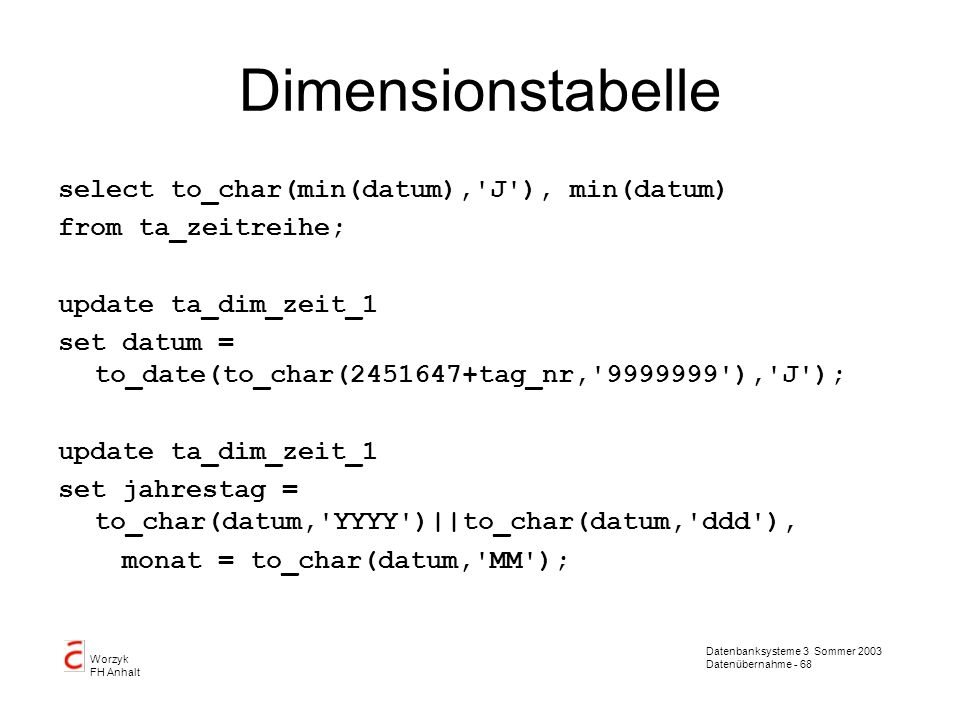 Dimensionstabelle select to_char(min(datum), J ), min(datum)