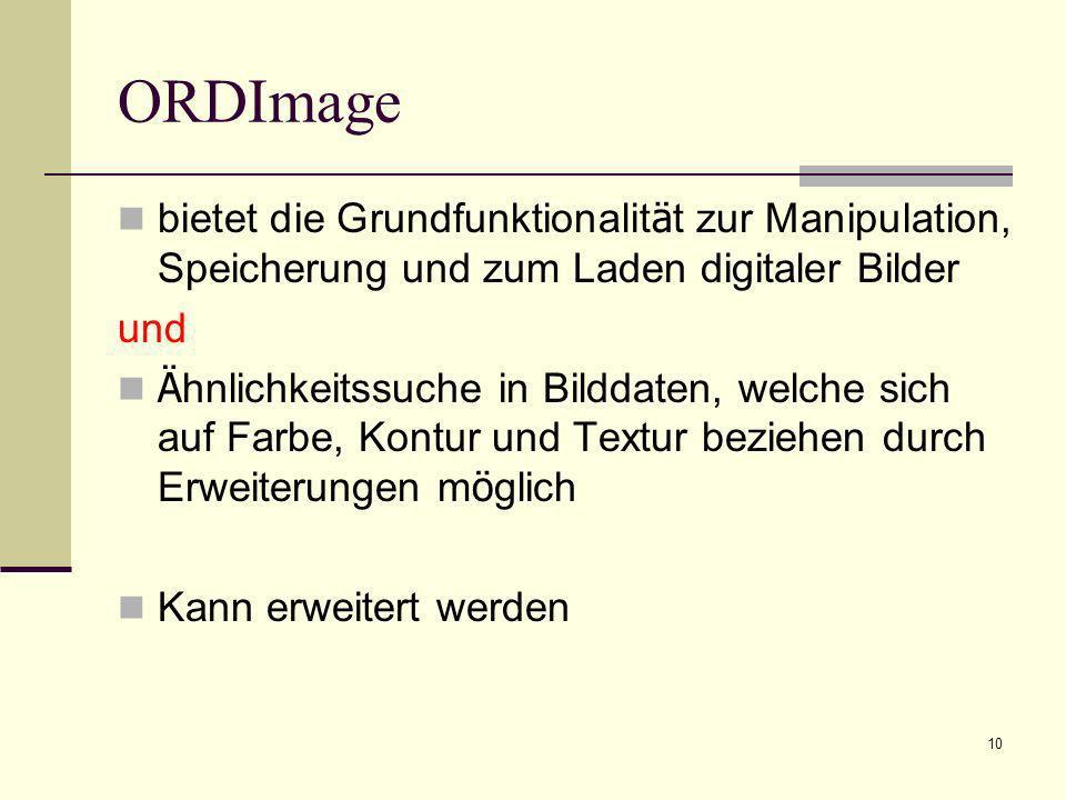 ORDImage bietet die Grundfunktionalität zur Manipulation, Speicherung und zum Laden digitaler Bilder.