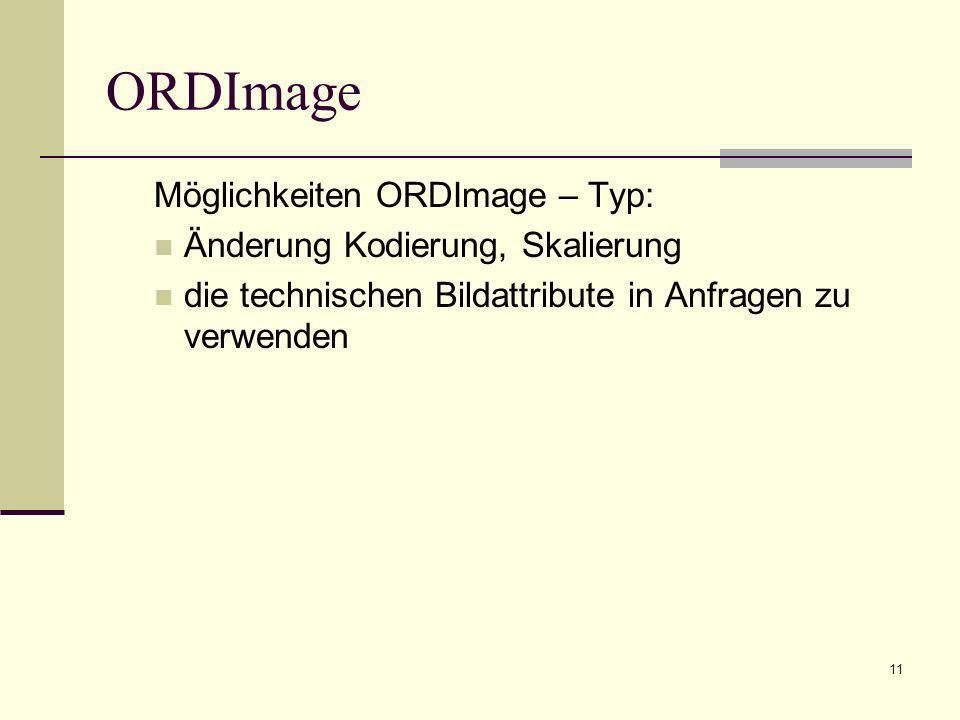 ORDImage Möglichkeiten ORDImage – Typ: Änderung Kodierung, Skalierung