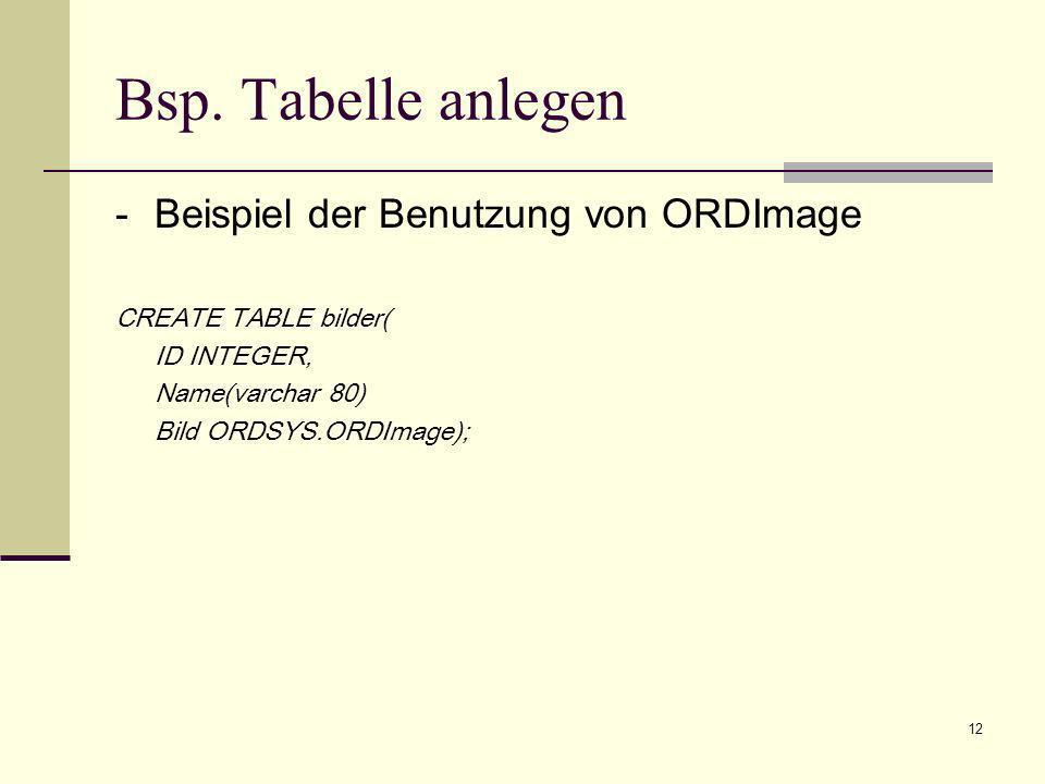 Bsp. Tabelle anlegen - Beispiel der Benutzung von ORDImage