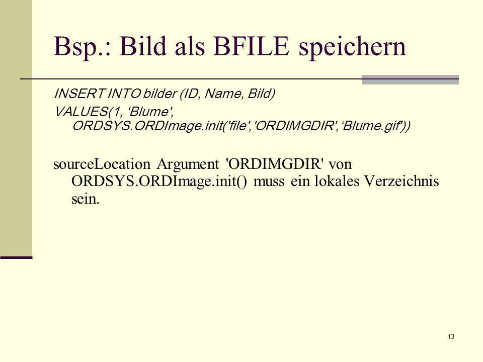 Bsp.: Bild als BFILE speichern