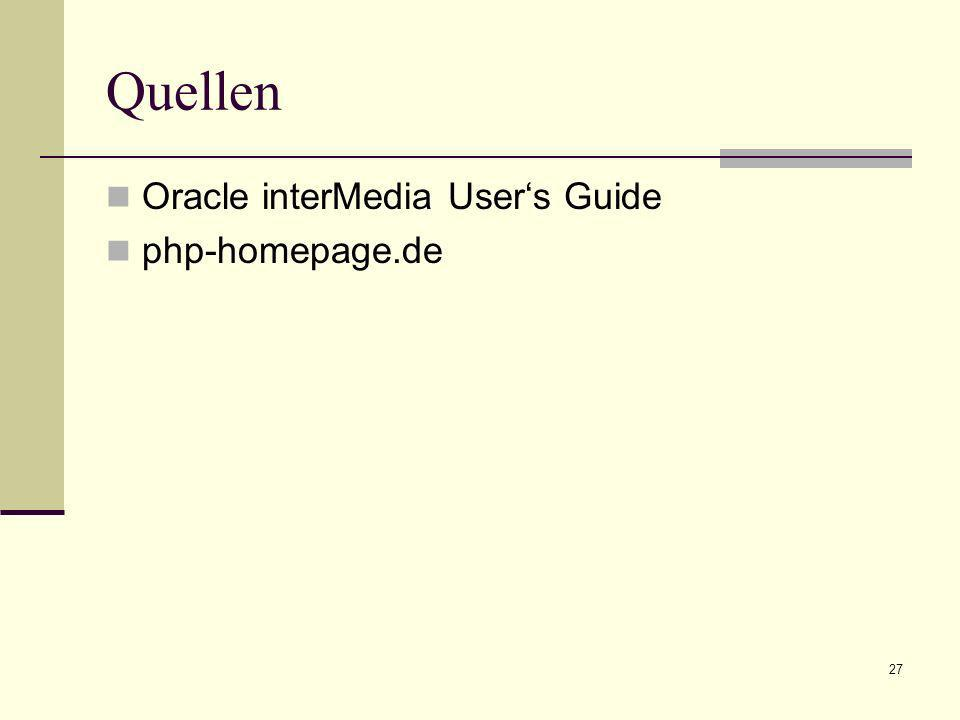 Quellen Oracle interMedia User's Guide php-homepage.de