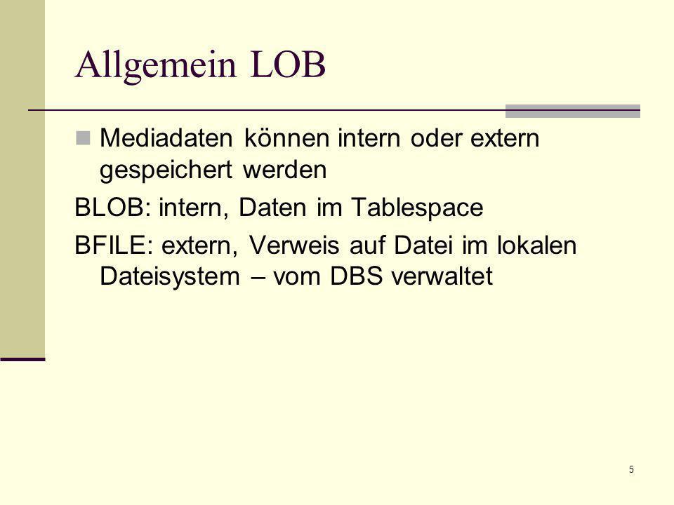 Allgemein LOB Mediadaten können intern oder extern gespeichert werden