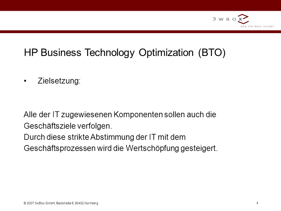 HP Business Technology Optimization (BTO)