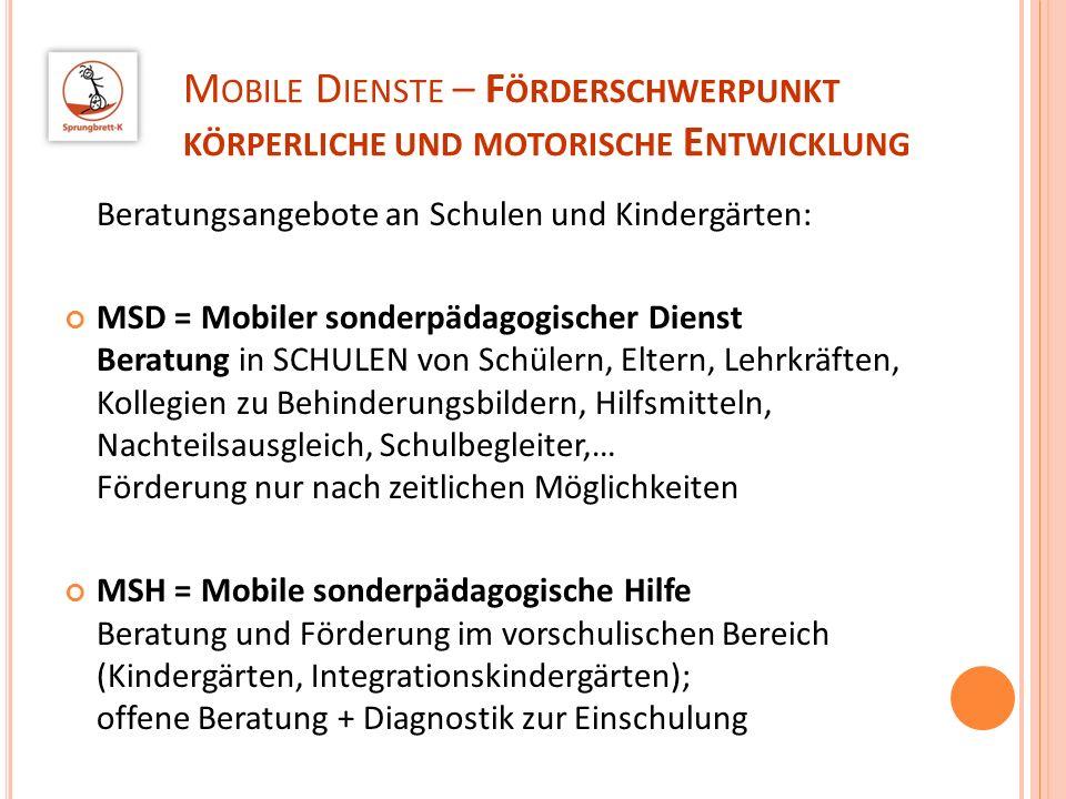 Mobile Dienste – Förderschwerpunkt körperliche und motorische Entwicklung