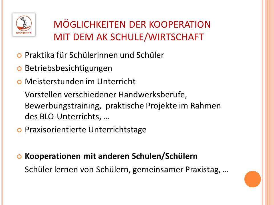 MÖGLICHKEITEN DER KOOPERATION MIT DEM AK SCHULE/WIRTSCHAFT