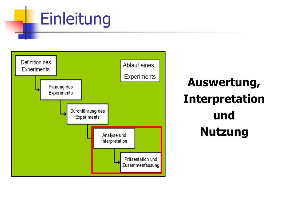 Einleitung Auswertung, Interpretation und Nutzung