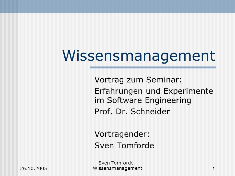 Sven Tomforde - Wissensmanagement