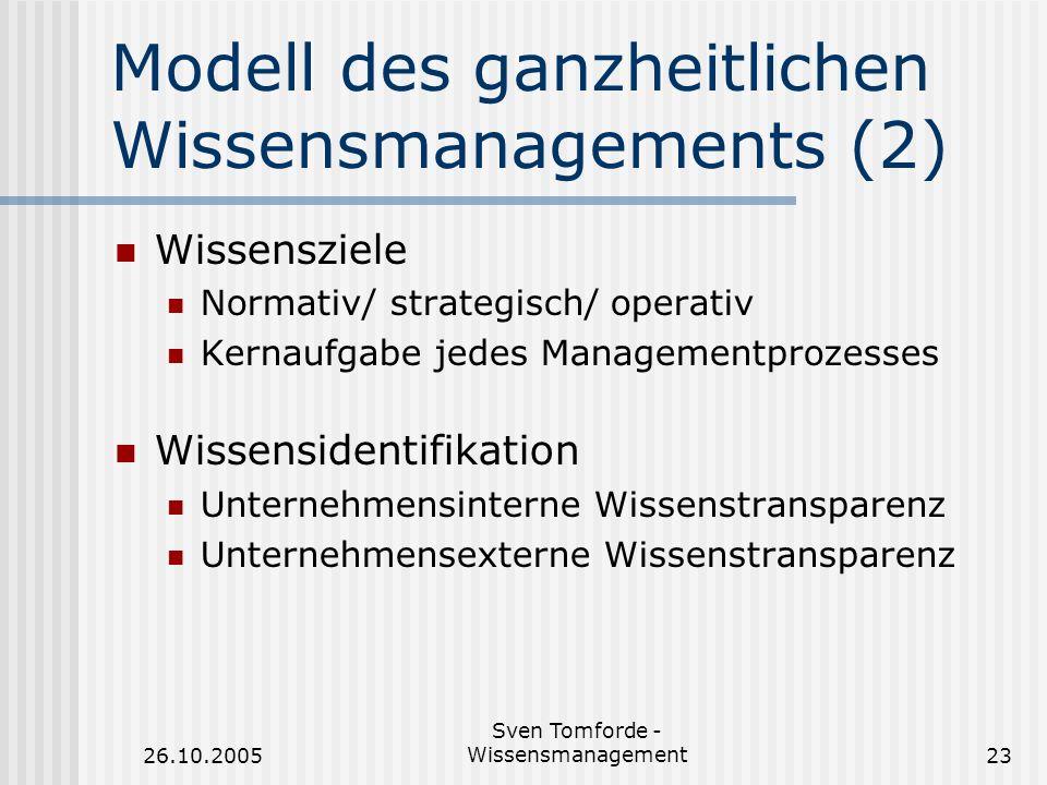 Modell des ganzheitlichen Wissensmanagements (2)