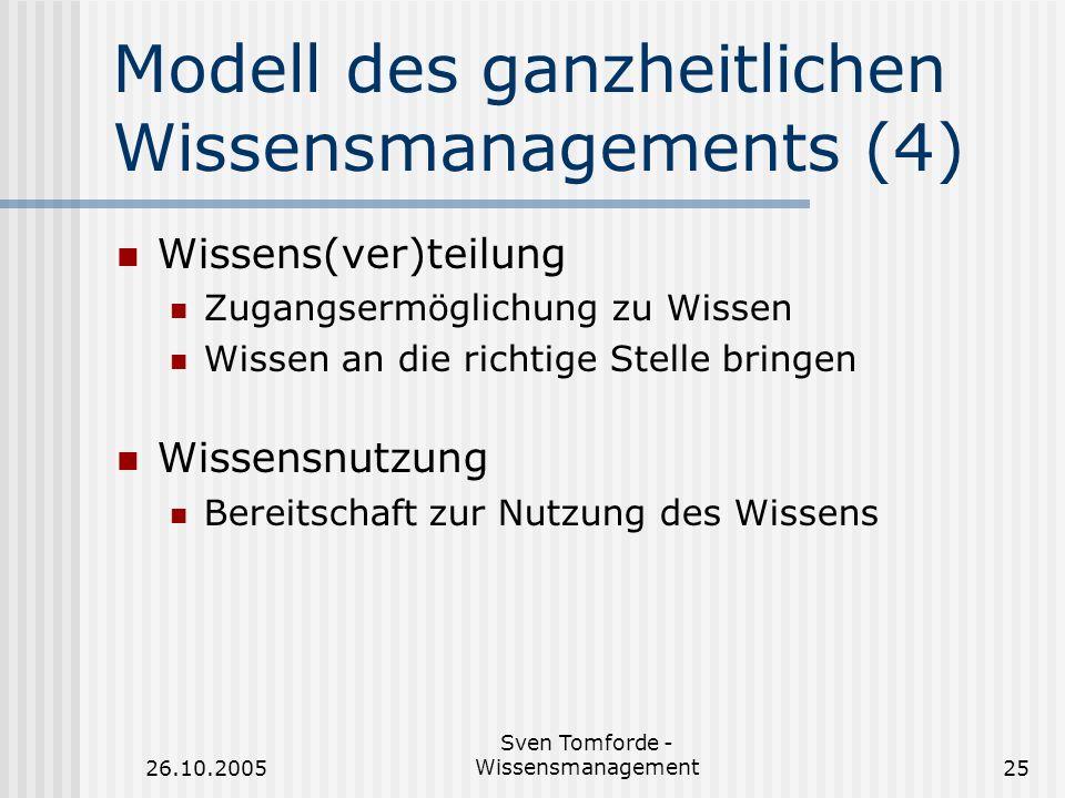 Modell des ganzheitlichen Wissensmanagements (4)