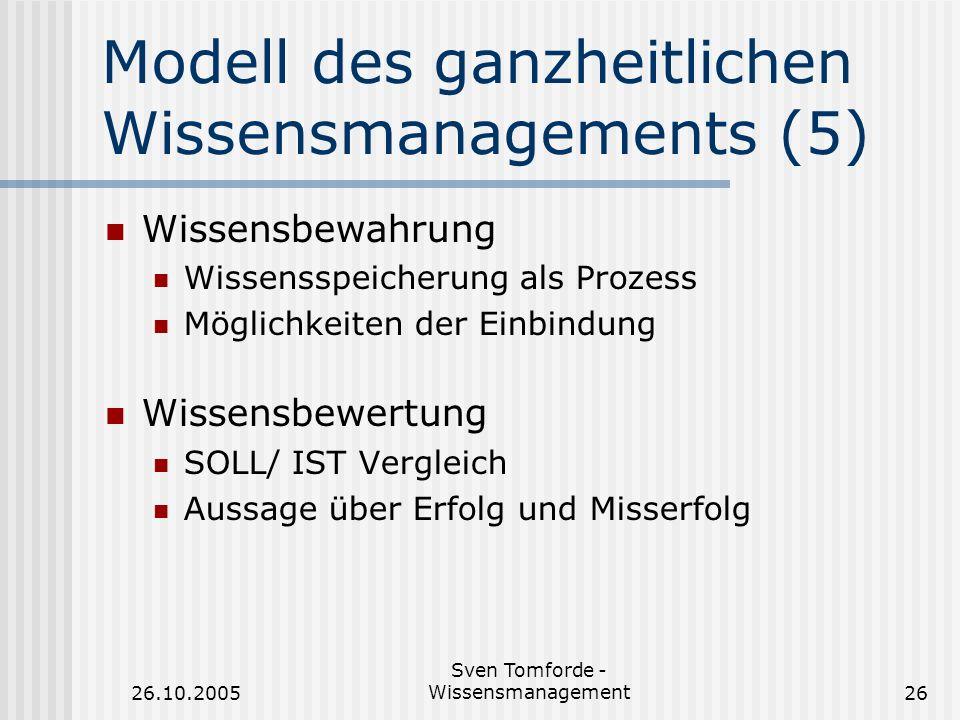 Modell des ganzheitlichen Wissensmanagements (5)