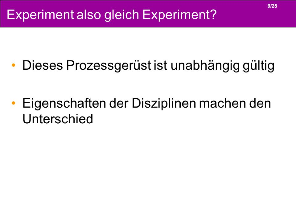 Experiment also gleich Experiment