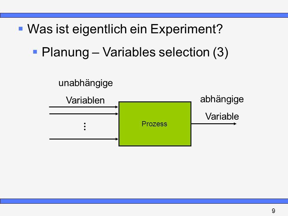 Was ist eigentlich ein Experiment Planung – Variables selection (3)