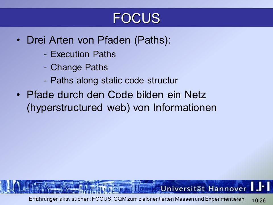 FOCUS Drei Arten von Pfaden (Paths):