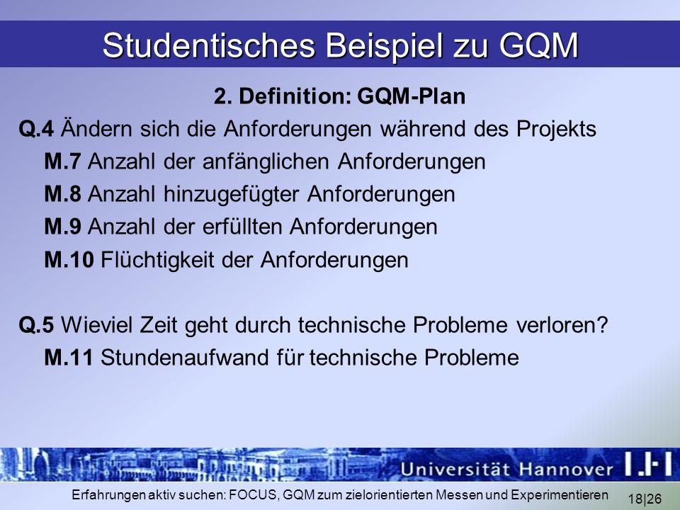 Studentisches Beispiel zu GQM