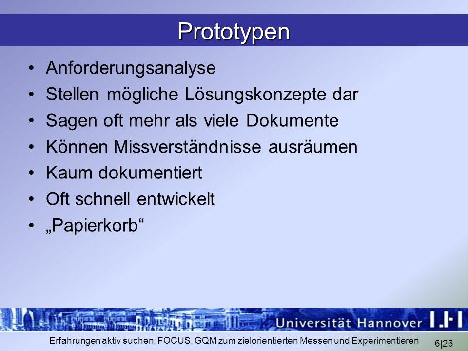 Prototypen Anforderungsanalyse Stellen mögliche Lösungskonzepte dar