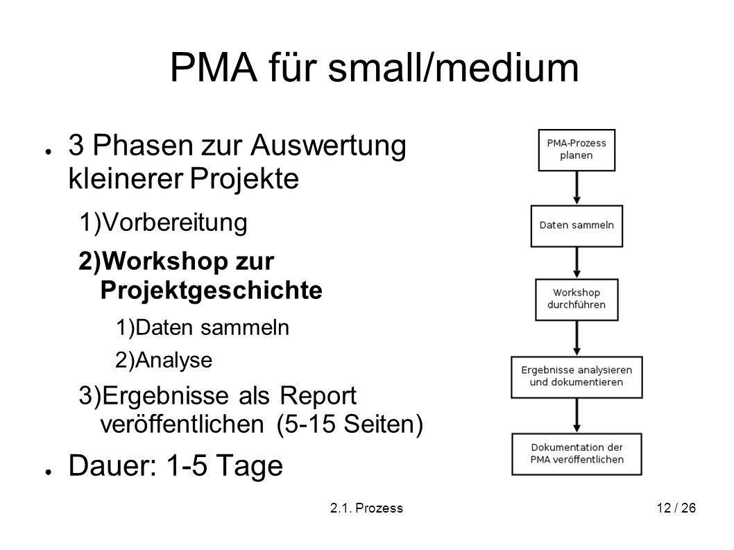 PMA für small/medium 3 Phasen zur Auswertung kleinerer Projekte