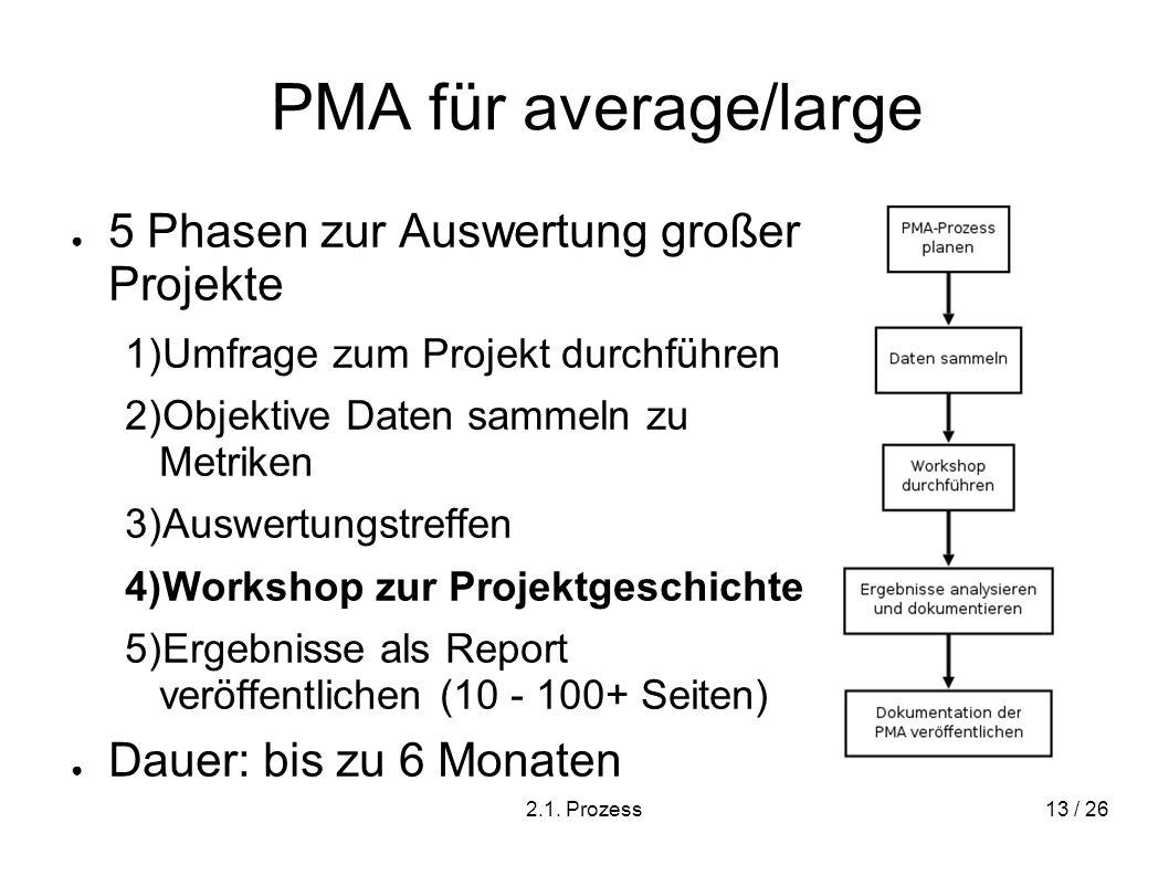 PMA für average/large 5 Phasen zur Auswertung großer Projekte