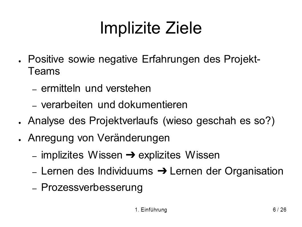 Implizite Ziele Positive sowie negative Erfahrungen des Projekt- Teams