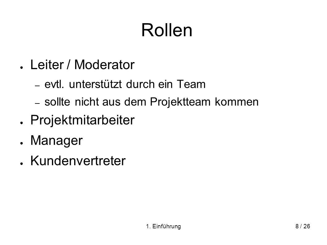Rollen Leiter / Moderator Projektmitarbeiter Manager Kundenvertreter