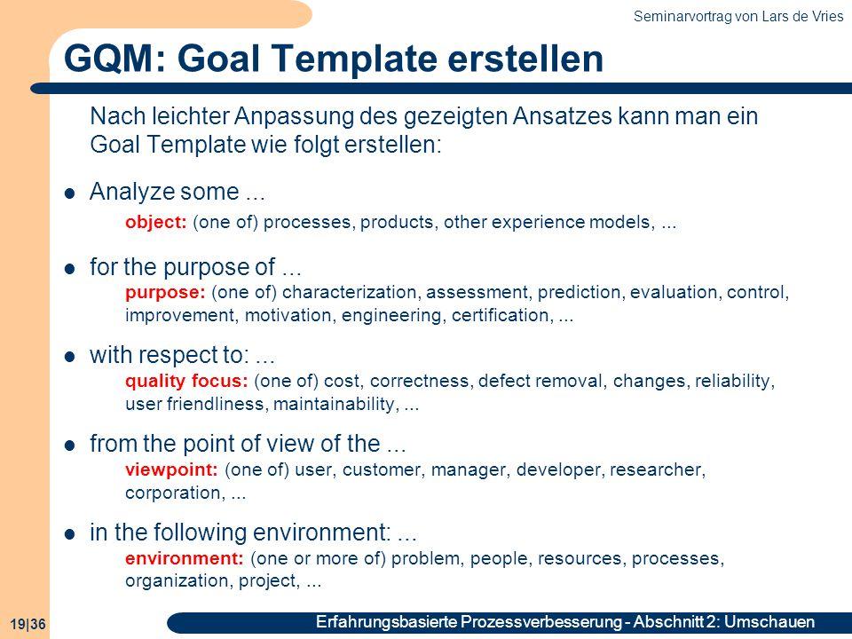 GQM: Goal Template erstellen
