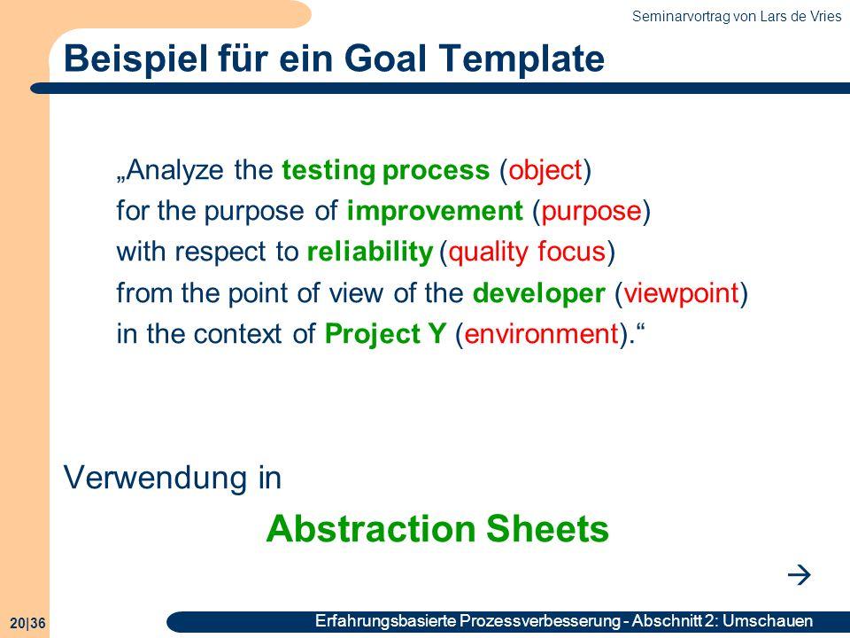 Beispiel für ein Goal Template