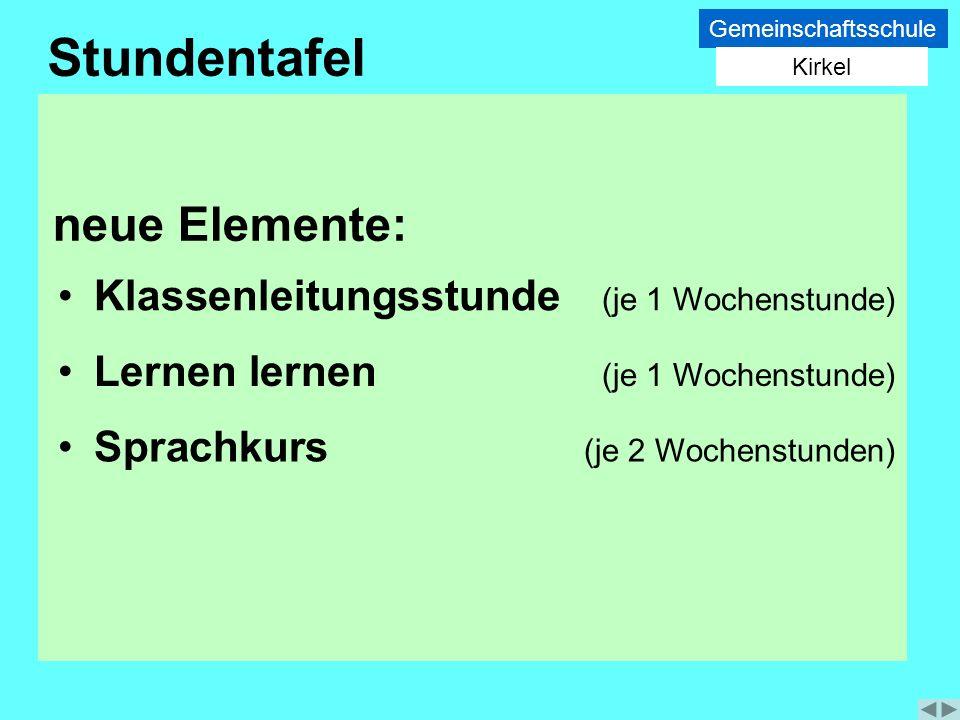 Stundentafel neue Elemente: Klassenleitungsstunde (je 1 Wochenstunde)
