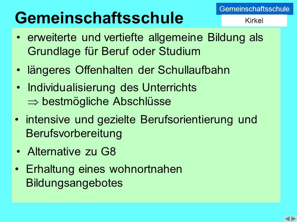 Gemeinschaftsschule Kirkel. Gemeinschaftsschule. erweiterte und vertiefte allgemeine Bildung als Grundlage für Beruf oder Studium.