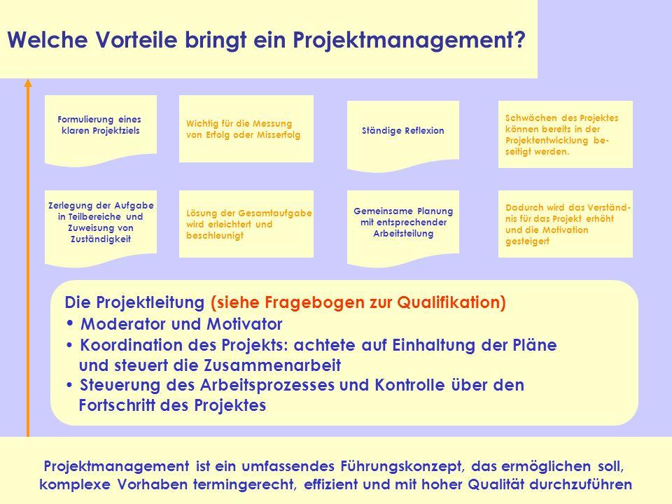 Welche Vorteile bringt ein Projektmanagement