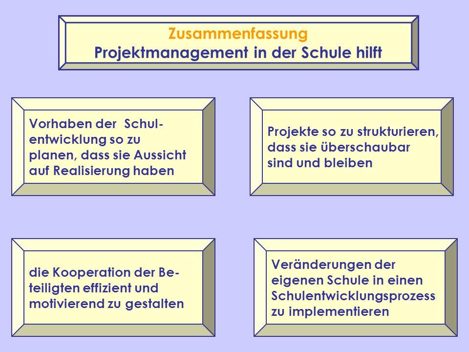 Projektmanagement in der Schule hilft