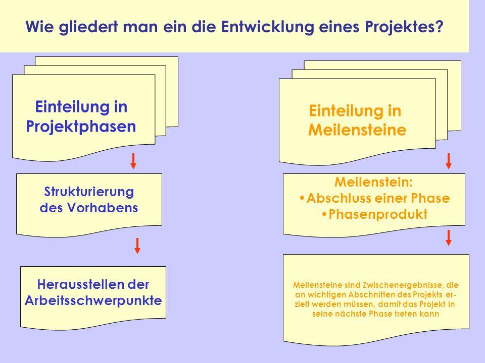 Wie gliedert man ein die Entwicklung eines Projektes