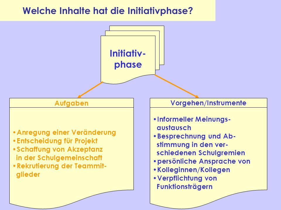 Welche Inhalte hat die Initiativphase Vorgehen/Instrumente