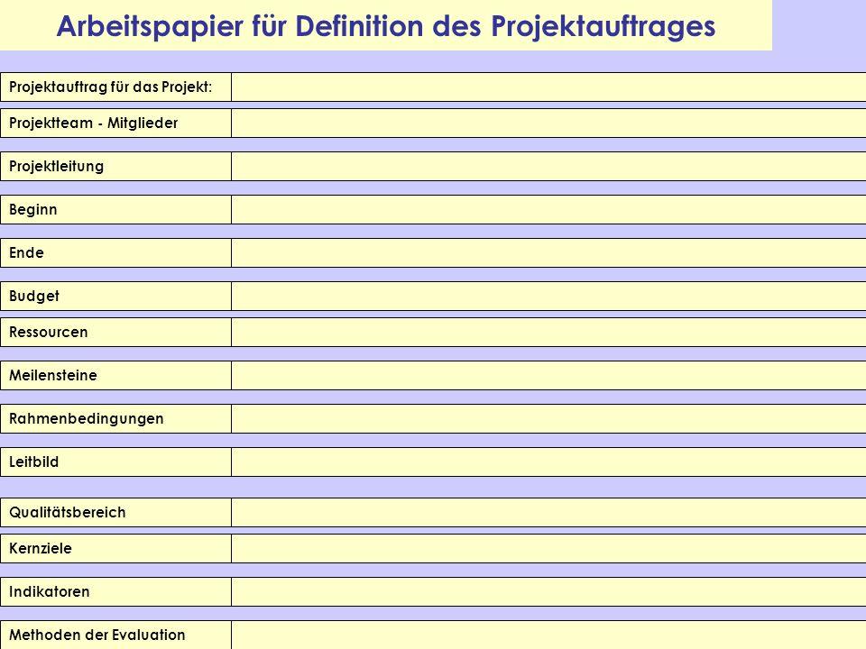 Arbeitspapier für Definition des Projektauftrages