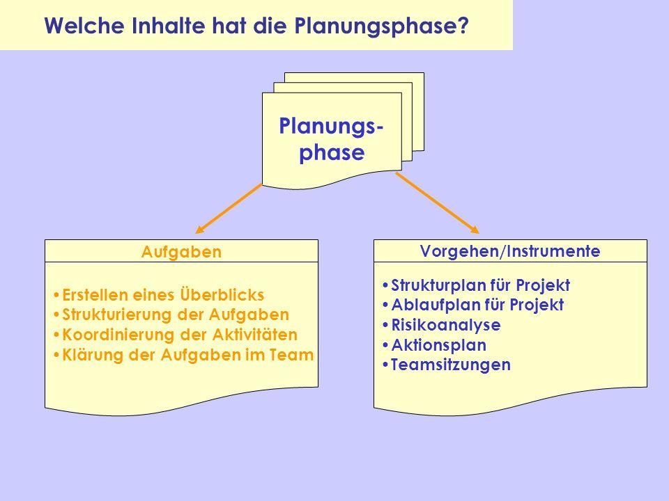 Welche Inhalte hat die Planungsphase Vorgehen/Instrumente
