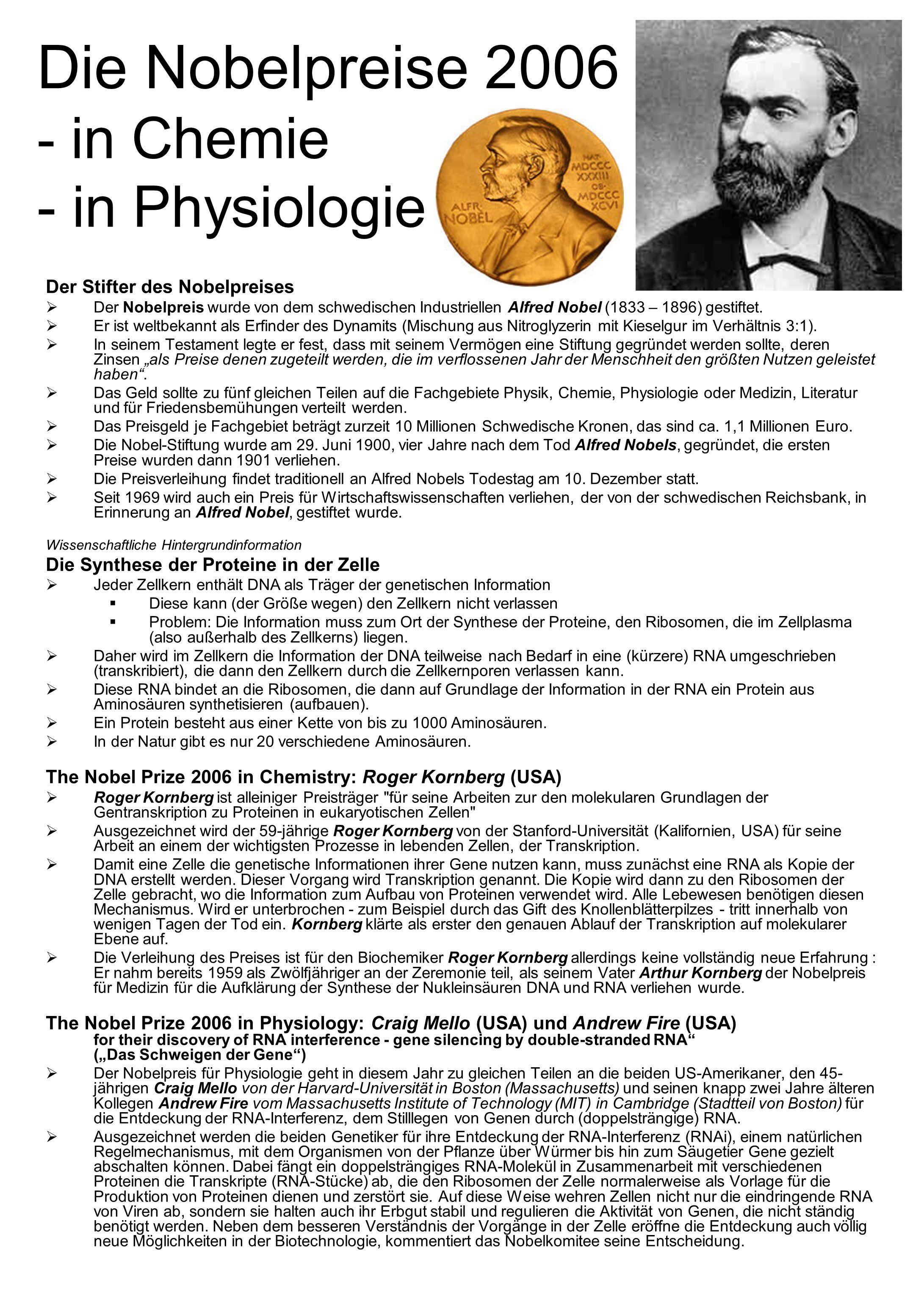 Die Nobelpreise 2006 - in Chemie - in Physiologie