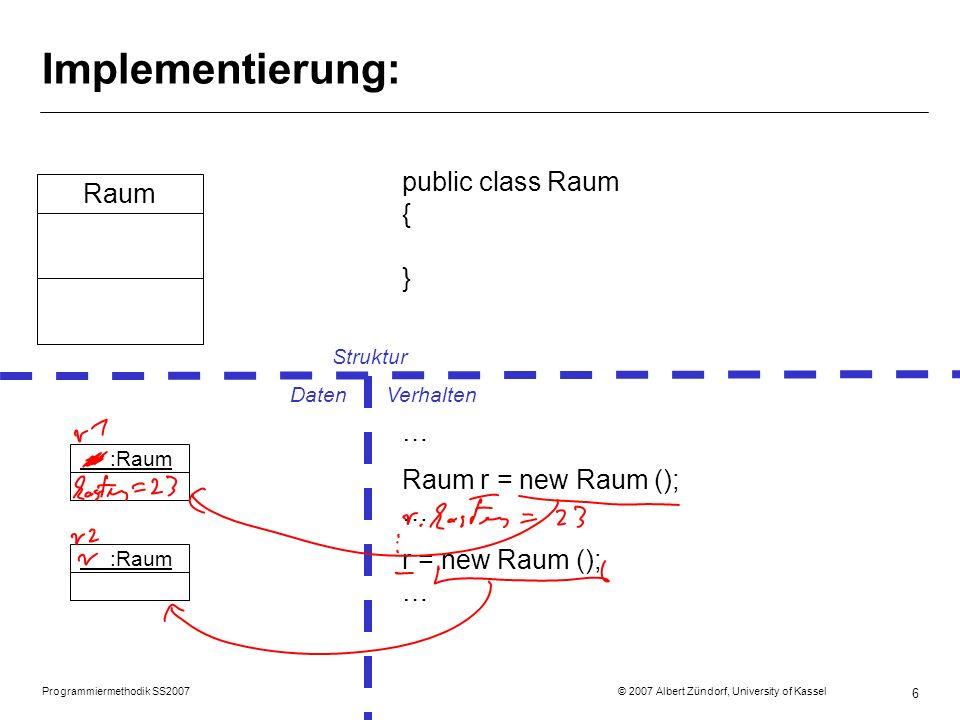 Implementierung: public class Raum { } Raum … Raum r = new Raum (); …