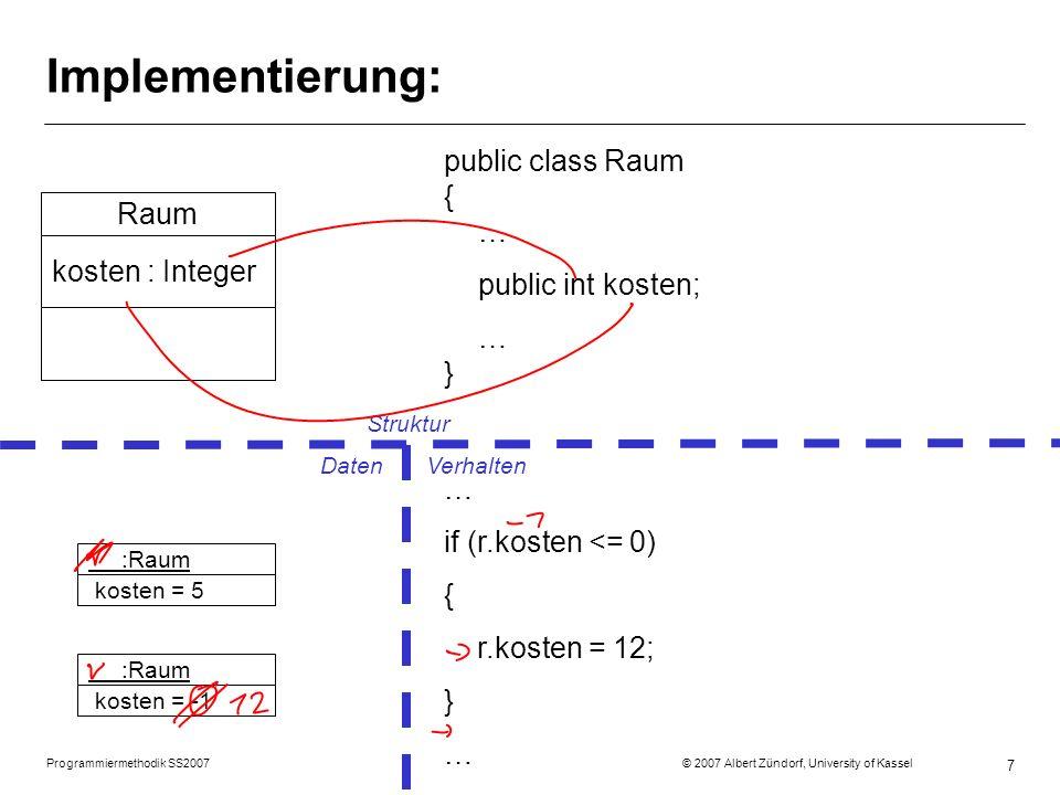 Implementierung: public class Raum { … Raum public int kosten; … }